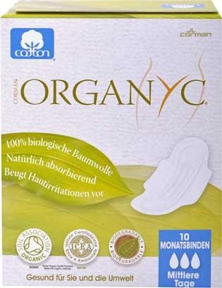Organyc Damenbinden mit Flügeln 10 Stück