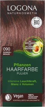 LOGONA Pflanzen-Haarfarbe Pulver 090 dunkelbraun 100g