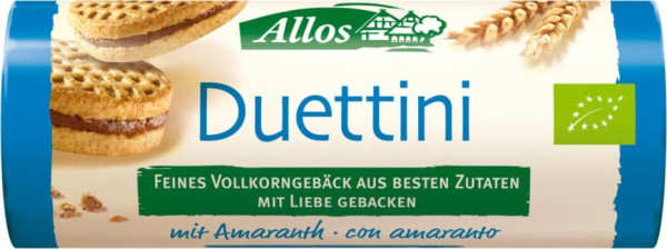Allos Duettini, kleine Doppelkekse mit Kakaocremefüllung 90g