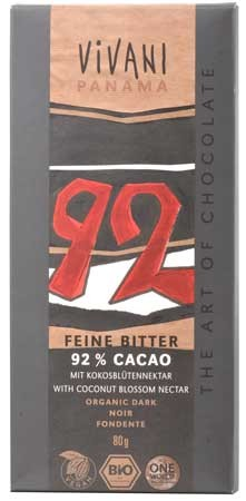 Vivani Feine Bitter 92% Cacao Schokolade 80g
