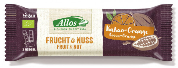 Allos Frucht & Nuss Kakao-Orange Riegel 50g