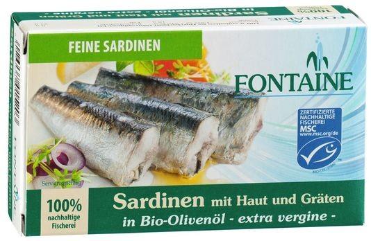 Fontaine Sardinen mit Haut & Gräten in Olivenöl 120g
