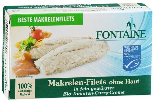 Fontaine Makrelen-Filets in Bio-Tomaten-Curry-Creme 125g