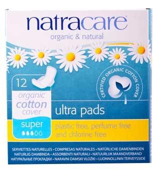 Natracare natural ultra pads super Damenbinden mit Flügeln 100% Baumwolle 12 Stück