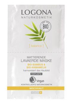 LOGONA Mattierende Lavaerde Maske Bio-Bambus & Bio-Hamamelis 2x7,5ml