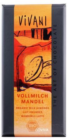 Vivani Vollmilch Schokolade mit ganzen Mandeln 100g