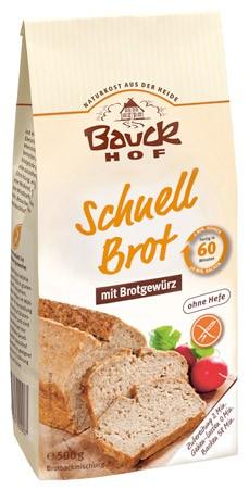 Bauckhof Schnellbrot mit Brotgewürz Backmischung 500g MHD 30.06.2019