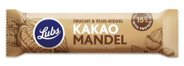 Lubs Fruchtriegel Frucht & Plus Kakao Mandel - Protein Bar glutenfrei 38g