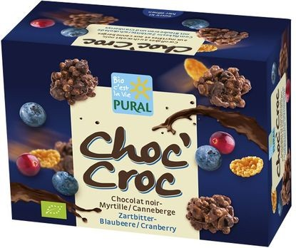 Pural Choc'Croc Cornflakes Zartbitter Blaubeere-Cranberry 100g
