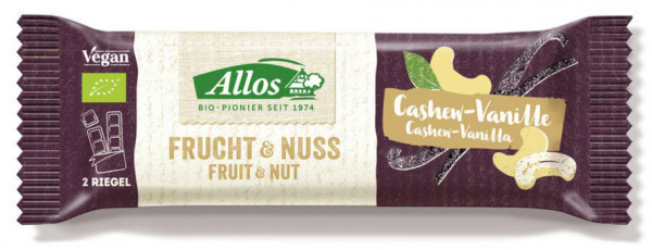 Allos Frucht & Nuss Cashew-Vanille Riegel 50g